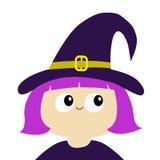巫婆女孩佩带的卷毛帽子 动画片滑稽的鬼的婴孩魔术字符 愉快的万圣节 逗人喜爱的顶头面孔 2007个看板卡招呼的新年好 平的desig 向量例证