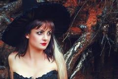 巫婆帽子的迷人的妇女 免版税库存图片