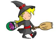 巫婆服装的女孩 库存图片