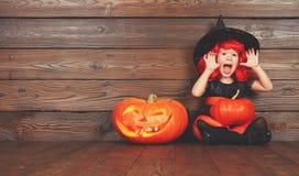 巫婆服装的滑稽的儿童女孩为万圣夜用南瓜Ja 库存图片