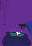 巫婆海报为愉快的万圣夜 免版税库存照片