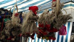 巫婆的公平的博览会秸杆拖曳和材料笤帚的  股票录像