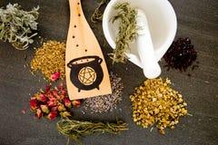 巫婆的大锅-厨房巫术-木绞拌器用在灰色/灰色板岩背景的干草本 库存图片