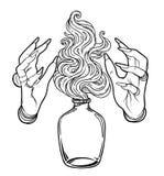 巫婆的手有火的 神秘的字符 方术,宗教, sp 皇族释放例证