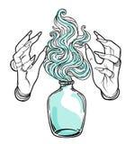 巫婆的手有火的 神秘的字符 方术,宗教, sp 向量例证