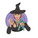巫婆降咒语 向量例证