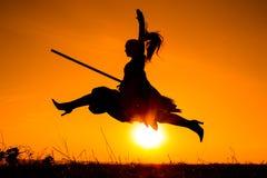 年轻巫婆飞行剪影在帚柄的 免版税库存图片