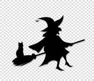 巫婆飞行黑剪影在笤帚的有在透明背景隔绝的猫的 皇族释放例证