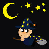 巫术师巫婆女巫女巫美女悍妇六角形的巫术师夜例证 免版税库存图片