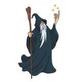 巫术师漫画人物设计吉祥人例证 免版税库存图片