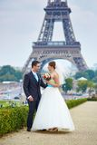 已婚夫妇在埃佛尔铁塔附近的巴黎 库存图片