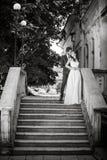 已婚夫妇黑白照片  免版税图库摄影