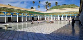 巴伊亚宫殿麦地那马拉喀什美好的建筑学  免版税库存图片