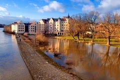 巴伐利亚多瑙河德国雷根斯堡河 库存照片
