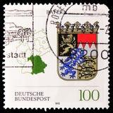巴伐利亚徽章,徽章联邦联邦州serie的,大约1992年 免版税图库摄影