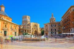 巴伦西亚喷泉维尔京圣玛丽的正方形的里约Turia, 免版税图库摄影