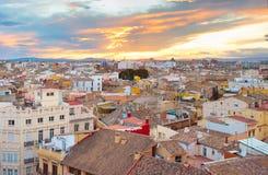 巴伦西亚日落视图  西班牙 库存照片