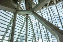 巴伦西亚科技馆的里面屋顶结构  免版税库存照片