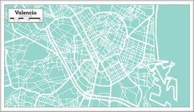 巴伦西亚西班牙在减速火箭的样式的市地图 黑白向量例证 库存例证