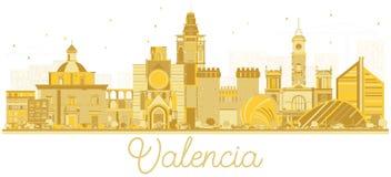 巴伦西亚西班牙市与金黄大厦的地平线剪影 库存图片