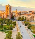 巴伦西亚鸟瞰图日落的 西班牙 免版税图库摄影