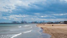 巴伦西亚,西班牙港视图 免版税库存照片
