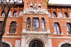 巴伦西亚,西班牙,欧洲-商会大厦门面细节 免版税库存照片