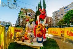巴伦西亚,西班牙, 2018年3月15日 法利亚斯全国节日  法利亚在区域Benimaclet 库存照片