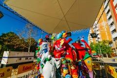 巴伦西亚,西班牙, 2018年3月15日 法利亚斯全国节日  法利亚在区域Benimaclet 免版税库存照片