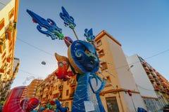 巴伦西亚,西班牙, 2018年3月15日 法利亚斯全国节日  法利亚在区域Benimaclet 库存图片