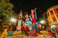 巴伦西亚,西班牙, 2018年3月15日 法利亚斯全国节日  法利亚在区域Malvarrosa 免版税库存照片
