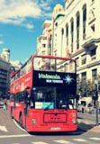 巴伦西亚,西班牙- 2018年10月16日:巴伦西亚公共汽车游览车城市旅行西班牙旅游业 免版税库存照片