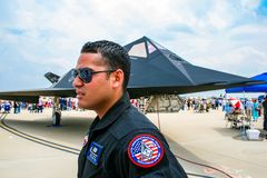 巴克斯代尔空军基地的洛克希德F-117夜生活者 库存图片