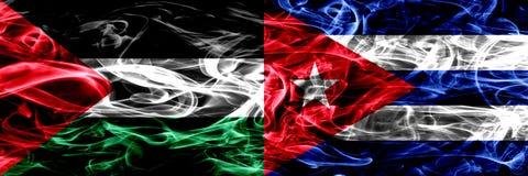 巴勒斯坦对古巴,肩并肩被安置的古巴烟旗子 巴勒斯坦人和古巴的厚实的色的柔滑的烟旗子,古巴 库存例证