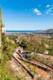 巴勒莫市全景和地中海沿岸航行  免版税库存图片
