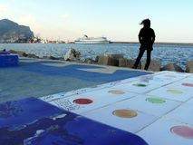 巴勒莫,西西里岛,意大利 11/04/2010 江边的看法 图库摄影