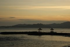 巴厘岛印度尼西亚日落 免版税图库摄影