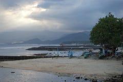 巴厘岛印度尼西亚日落 免版税库存照片