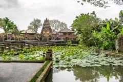 巴厘岛在有一个湖的Ubud寺庙从事园艺在中部 图库摄影