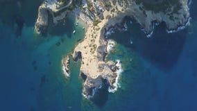 巴厘岛海滩空中寄生虫英尺长度在罗希姆诺,希腊的 股票视频