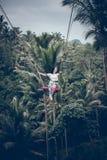 巴厘岛,印度尼西亚- 2017年12月26日:妇女获得乐趣摇摆在密林 摇摆在巴厘岛雨林的妇女  库存照片