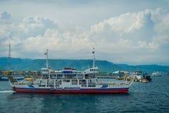 巴厘岛,印度尼西亚- 2017年4月05日:轮渡在外南梦Gilimanuk在Ubud,巴厘岛 库存照片