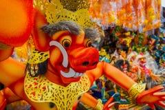 巴厘岛,印度尼西亚- 2017年3月08日:Impresive手工制造结构od红色evel面孔,在甚而发生Nyepi 免版税库存图片