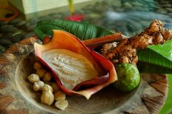 巴厘语印度尼西亚jamu温泉 库存图片