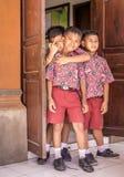 巴厘语pripary学校学生 库存照片