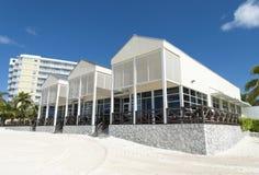 巴哈马群岛的海滩餐馆 库存照片