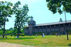 巴图林城堡 堡垒古老斯拉夫民族的建筑学  免版税库存图片