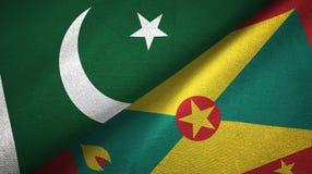 巴基斯坦和格林纳达两旗子纺织品布料,织品纹理 皇族释放例证