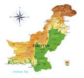 巴基斯坦物理地图 向量例证