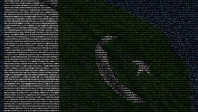 巴基斯坦的挥动的旗子做了文本标志在屏幕 3d概念性翻译 库存例证